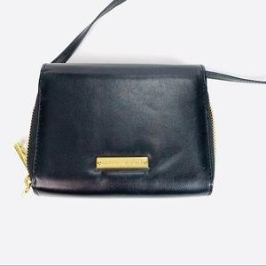 Madden Girl Faux Leather Crossbody Black Gold Mini